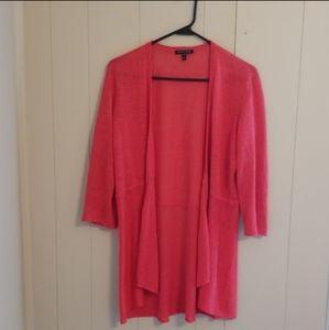 Eileen Fisher Pink Linen Open Cardigan